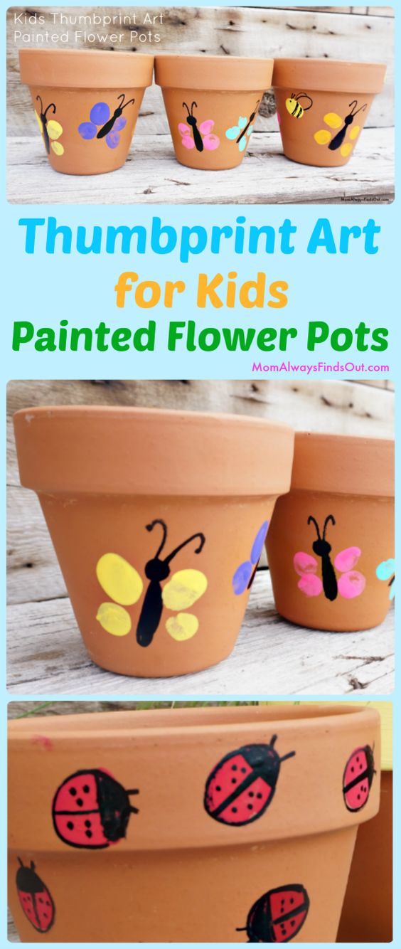 Thumbprint Paint Butterflies Or Ladybugs On Flower Pots.
