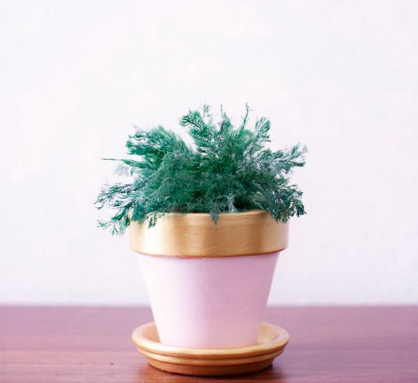 Pink and Copper Plant Pot.