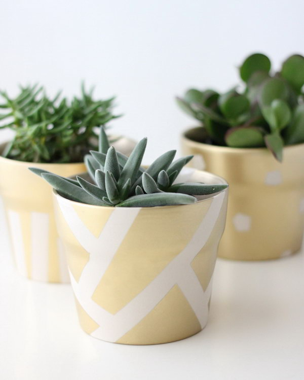Gold Patterned Succulent Pot. Get the tutorial