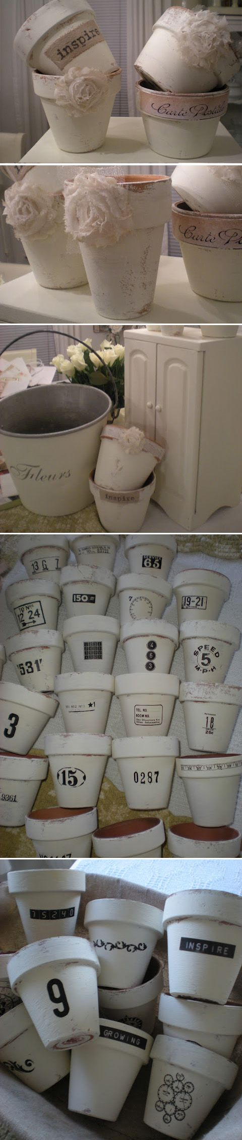 White Chalk Paint Terra Cotta Pots to Add Some Shabby Chic Style.
