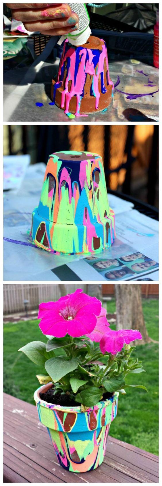 Rainbow Painted Terra Cotta Pots.