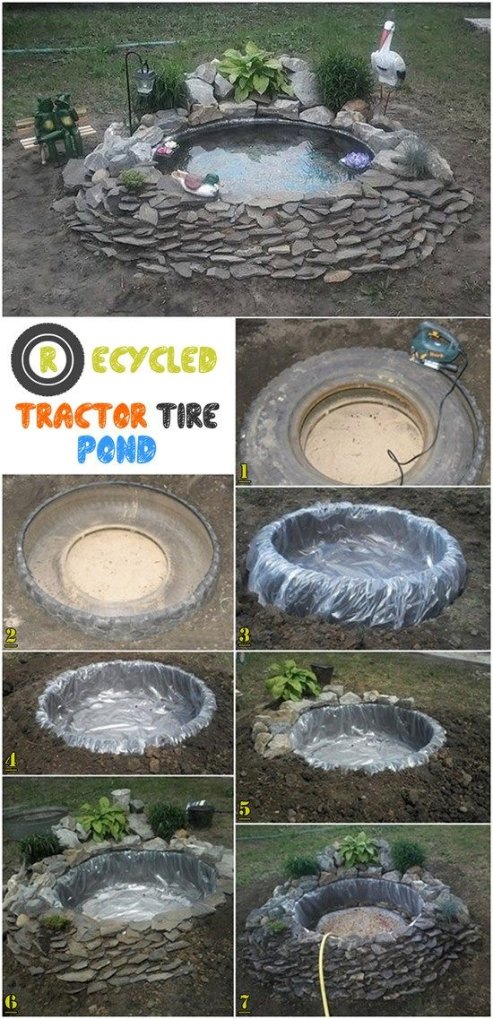 Recycled Tractor Tire Pond for Your Garden.
