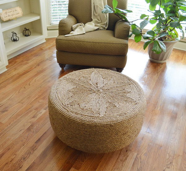Tire And Yarn Ottoman. Get the instructions