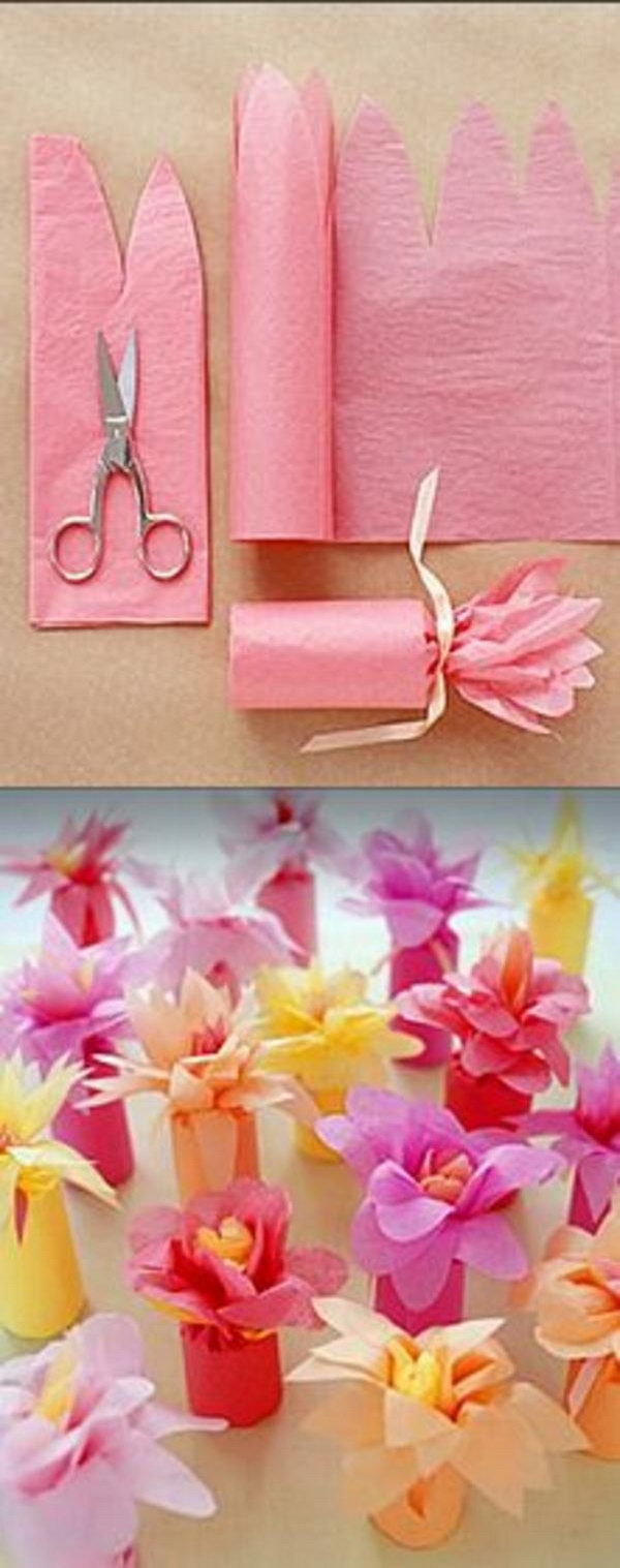 Tissue Paper Flower-Wrapped Favors.