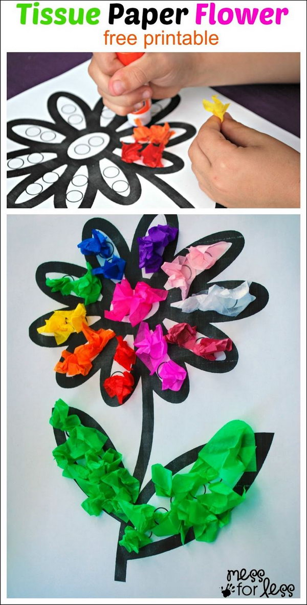 Tissue Paper Flower Art for Kids to Have Fun.