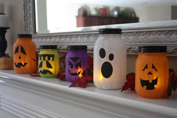 Mason Jar Pumpkin-less Jack-o-Lanterns.