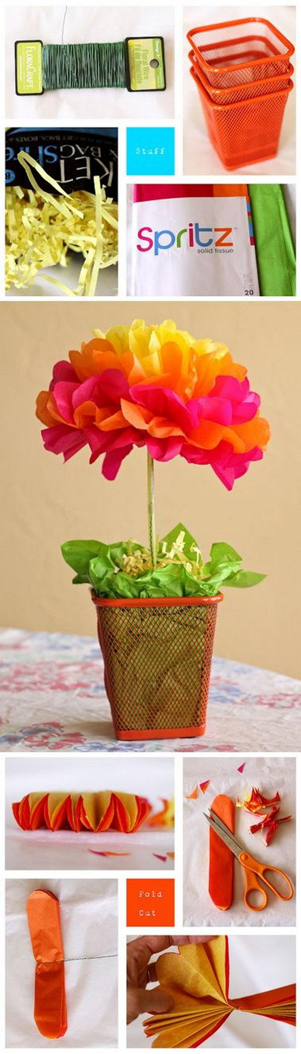 Tissue Paper Flower Centerpieces.