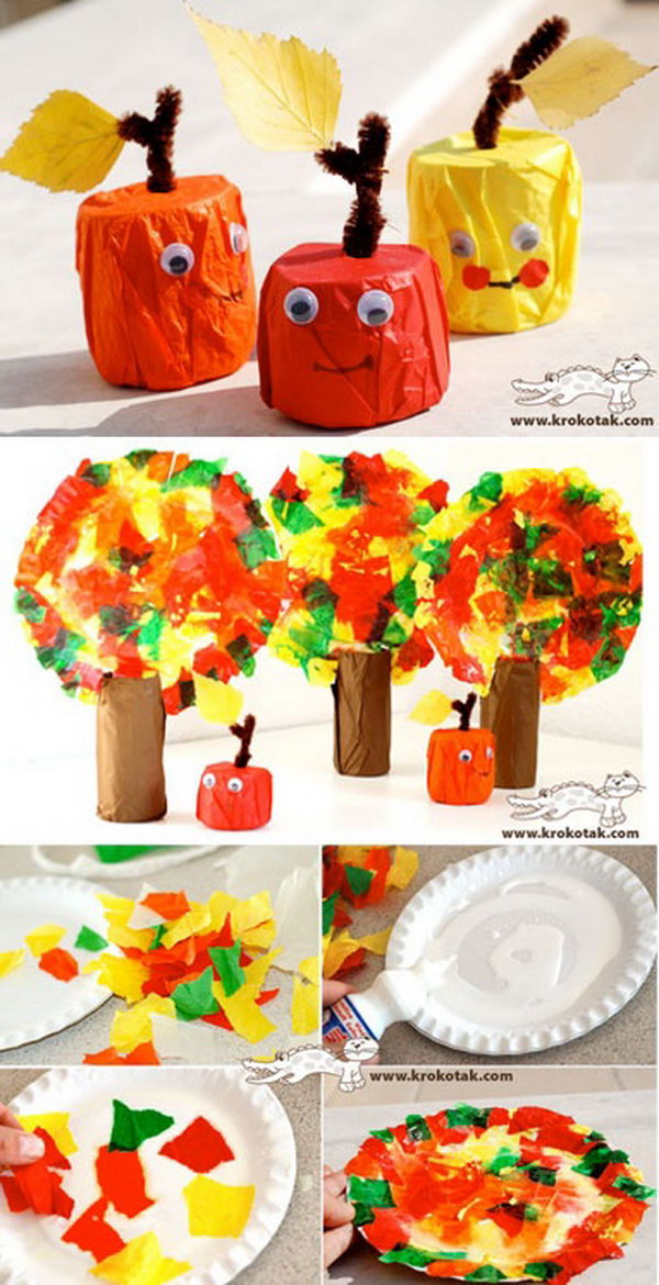 Tissue Paper Apples and Fall Trees.