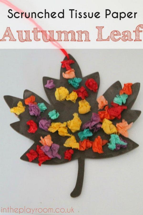 Scrunched Tissue Paper Autumn Leaf – Fall Craft.