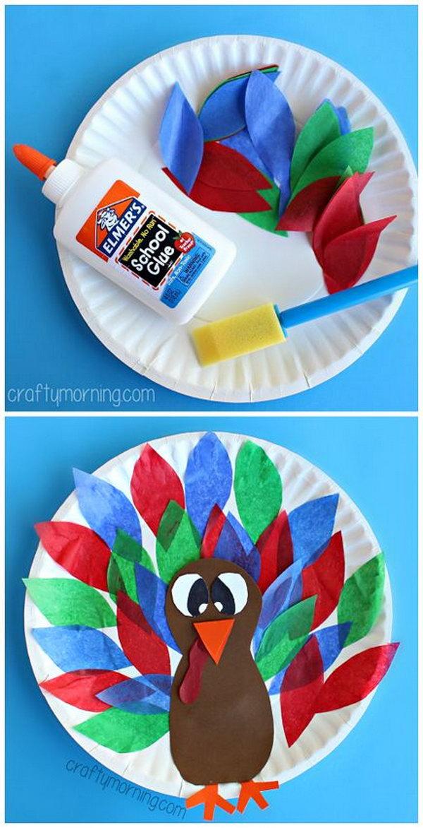 Paper Plate Turkey Craft Using Tissue Paper.