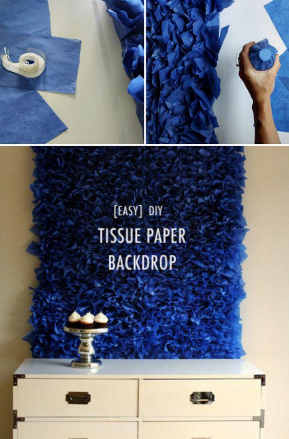 Easy DIY Tissue Paper Backdrop.