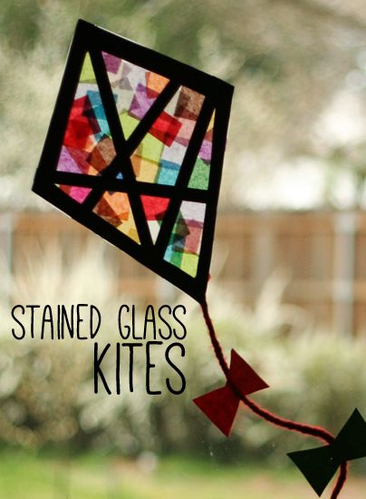 Tissue Paper Stained Glass Kites for Window Decoration.