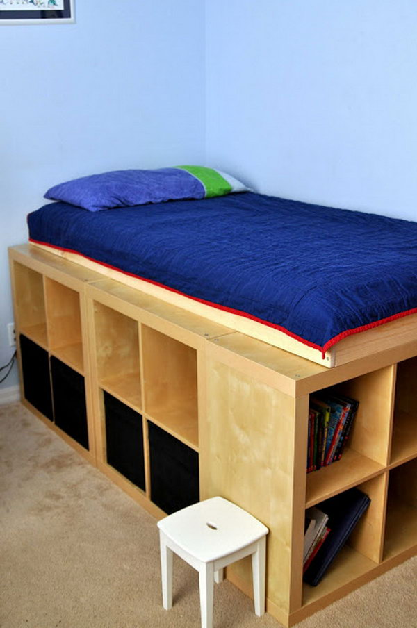 Diy Bed Platform With Ikea Expedit I Love This Storage From Genius