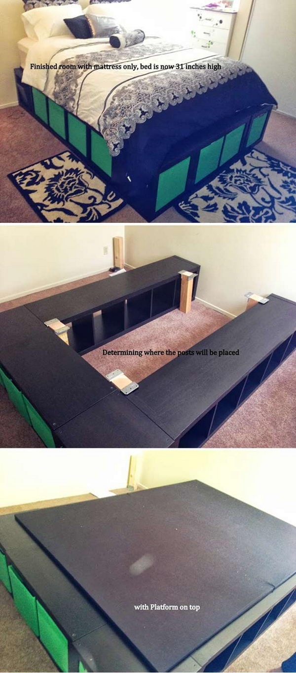 DIY Expedit Queen Platform Bed.