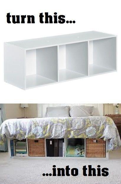 DIY Platform Bed Made From IKEA Shelves.