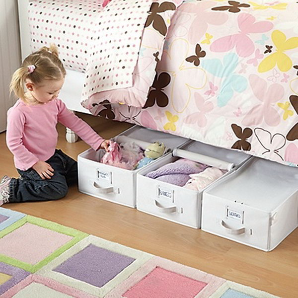 Canvas Totes for Under the Bed Storage. Simply add a few canvas totes or boxes that fit underneath the bed. They will be a great solution to store loads of toys and a great idea for utilizing space that is normally wasted.