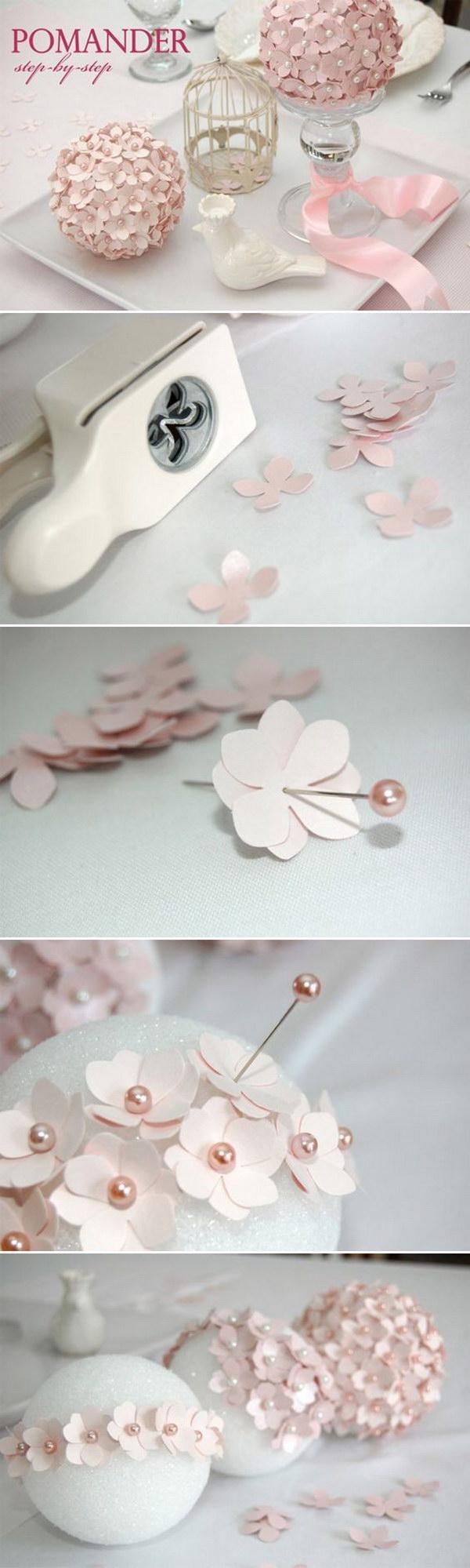 DIY Flower Ball Wedding Centerpiece.