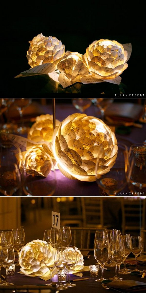 Paper Flowers With LED Lamp Inside Centerpieces.