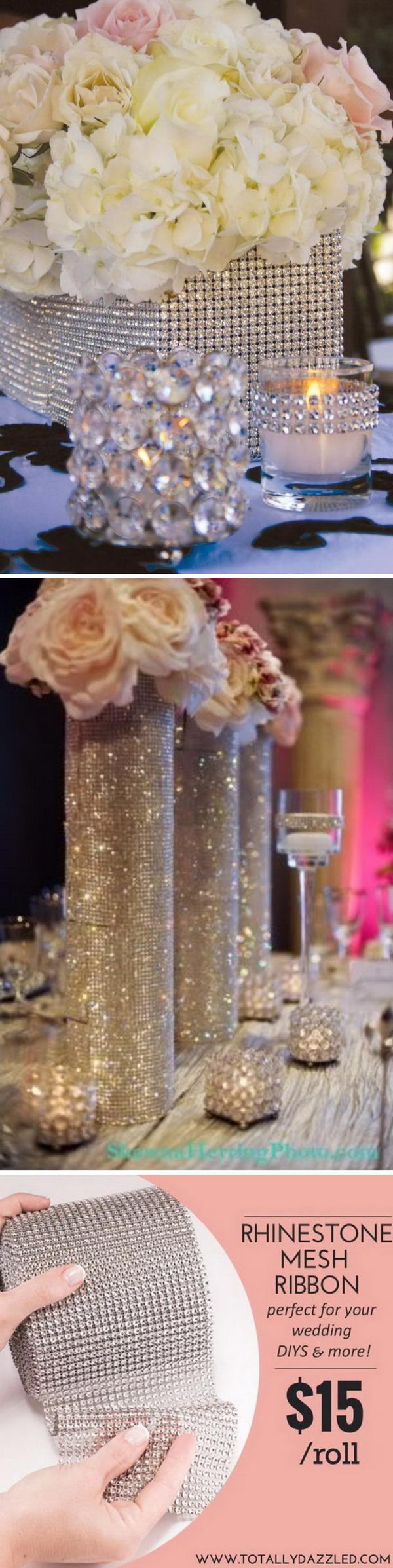 Diamond Mesh Wrapped Centerpieces.