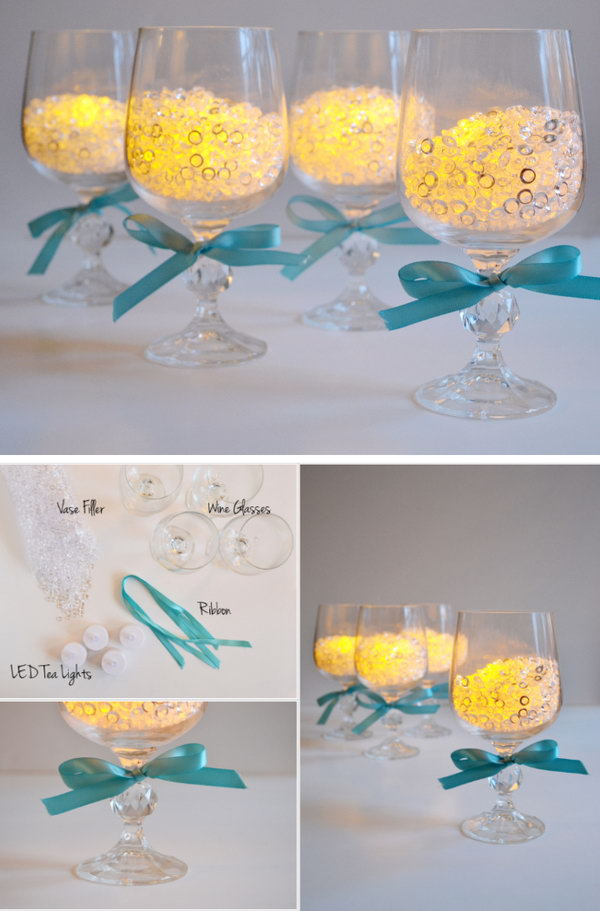 Wineglass Candle Holders Wedding Centerpiece .