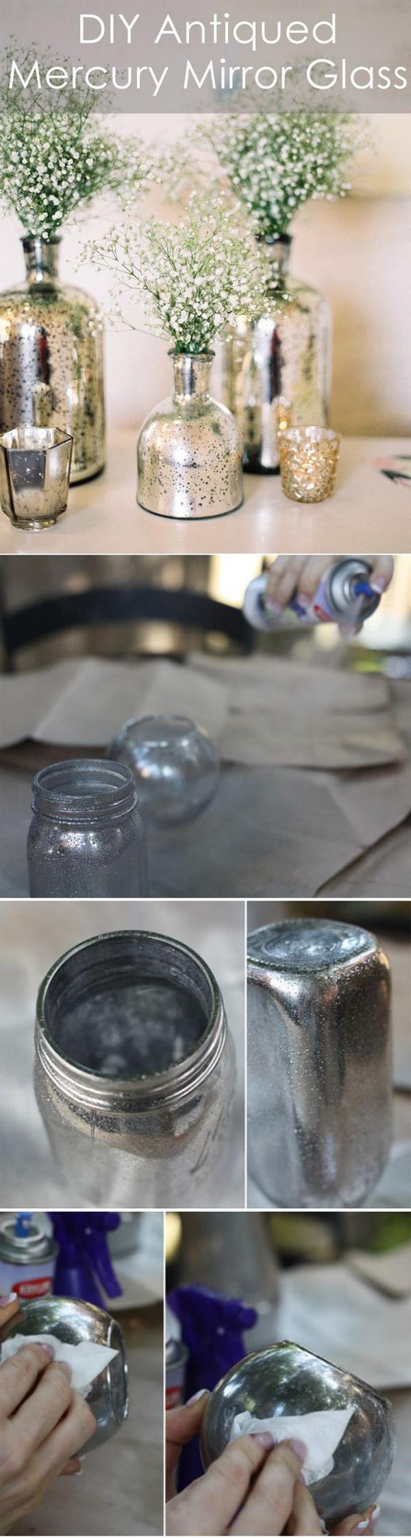 DIY Antiqued Mercury Mirror Glass Wedding Centerpieces.