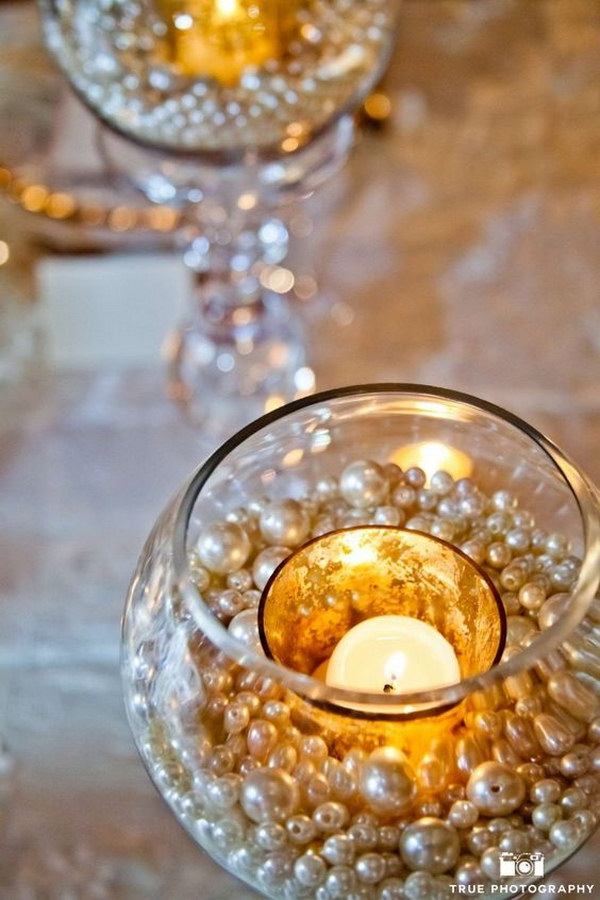 Budget Pearls Decorated Centerpieces.