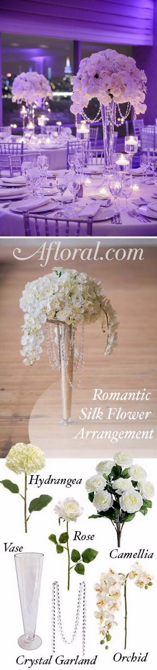 Tall Wedding Centerpiece with Crystals and Silk Flowers.