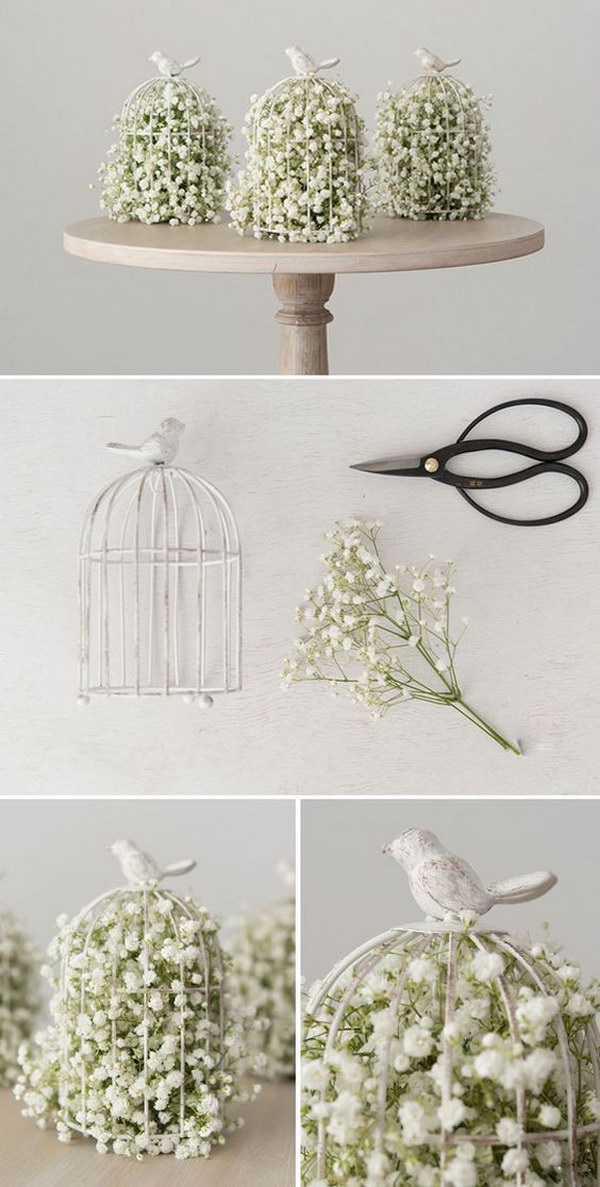 DIY Birdcage With Baby's Breath Centerpiece.