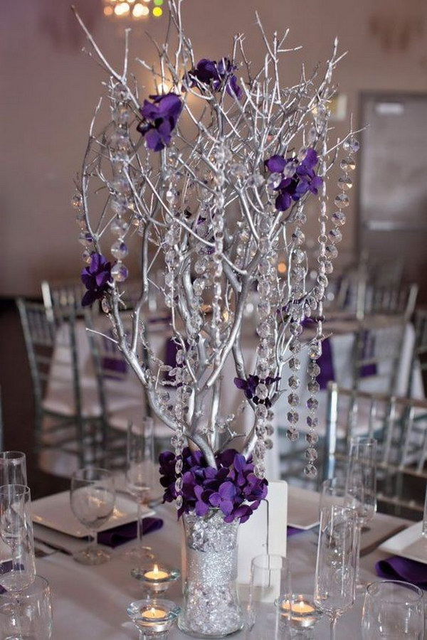 Branches Spray Painted As Centerpieces.
