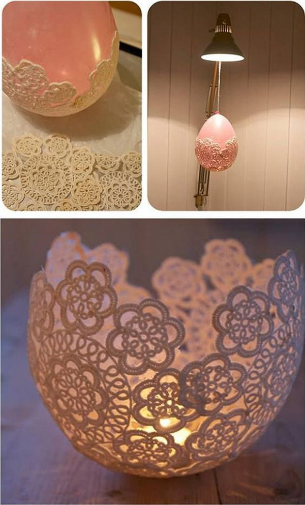 DIY Centerpieces With Lace And Candle.