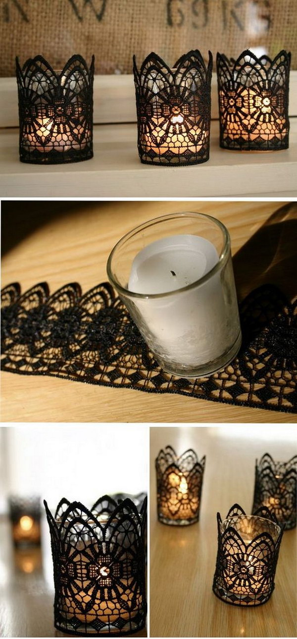 Black Lace Wrapped Votive Candle Holders .