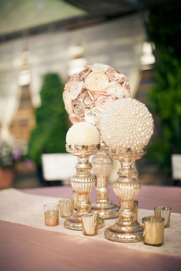 Paper Flowers And Pearl Globe Centerpieces.