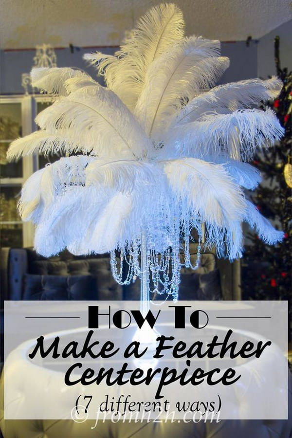 DIY Feather Centerpieces With Crystal.