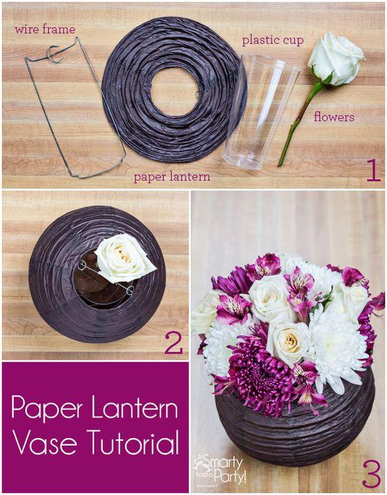 DIY Paper Lantern Vase Centerpiece.