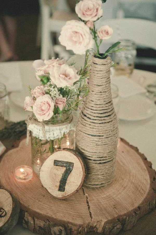Lace Covered Mason Jar and Rope Wrapped Glass Bottle Vases.