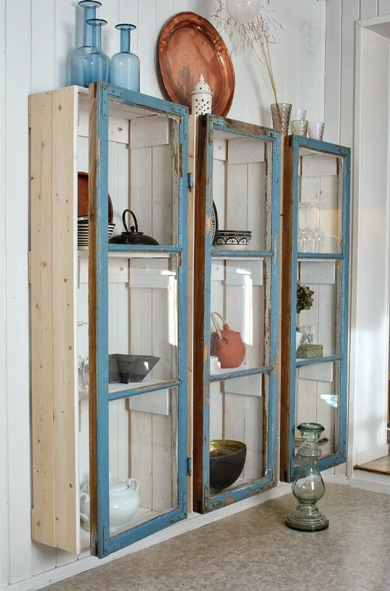Shabby Chic Cabinets Made From Old Windows.
