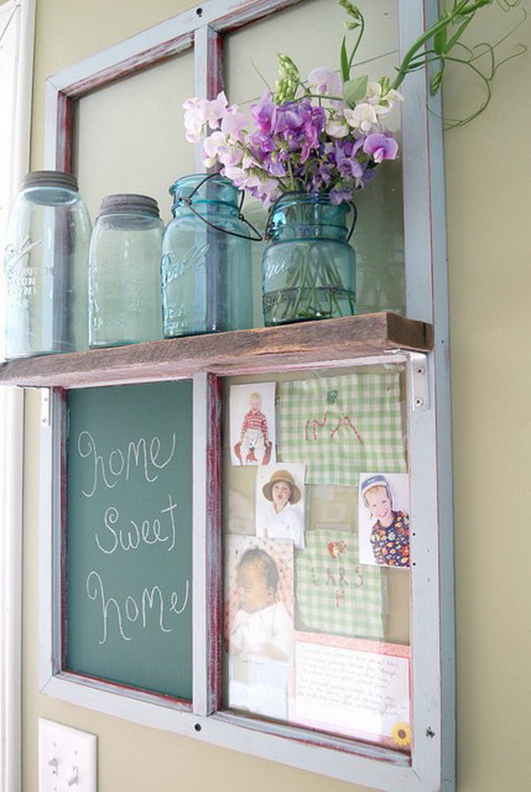 Window Frame On Wall With Shelf, Chalkboard And Picture Frame.