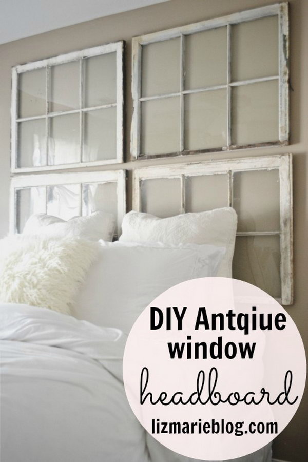 DIY Antique Window Headboard.