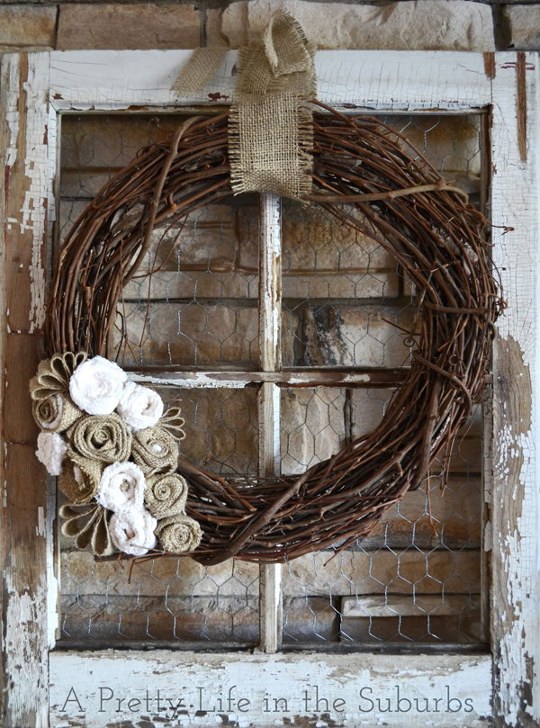 Old Window Wreath With Grapevine And Burlap.