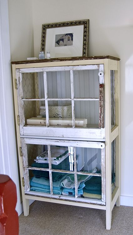 DIY Cabinet Constructed of Salvaged Windows.