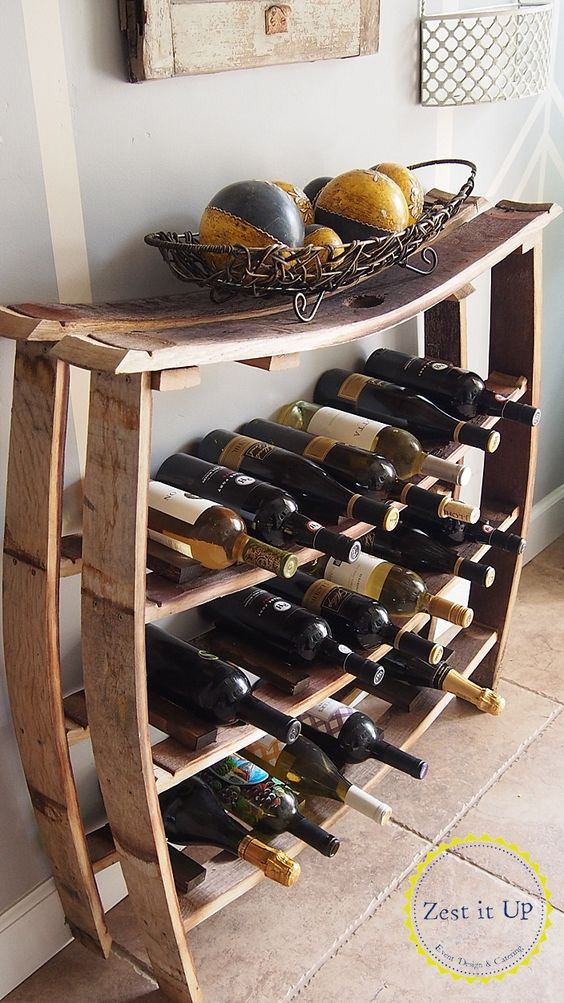 Wine Barrel Stave Wine Rack.