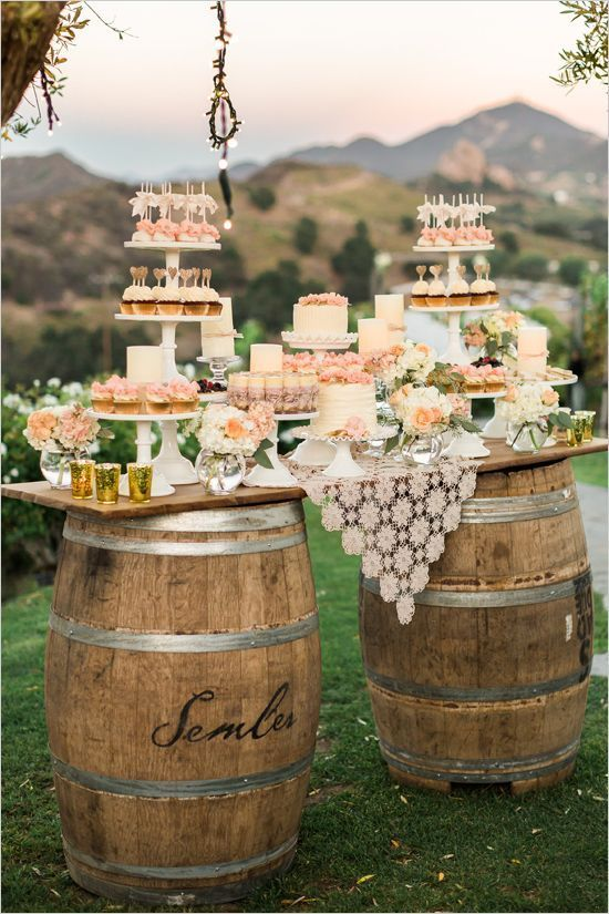 Rustic Wine Barrels Wedding Decoration.