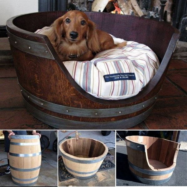 Wine Barrel Pet Bed.