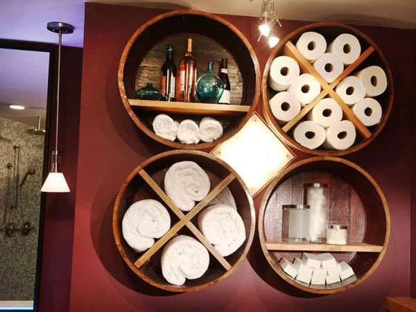 Wine Barrel Bathroom Storage.