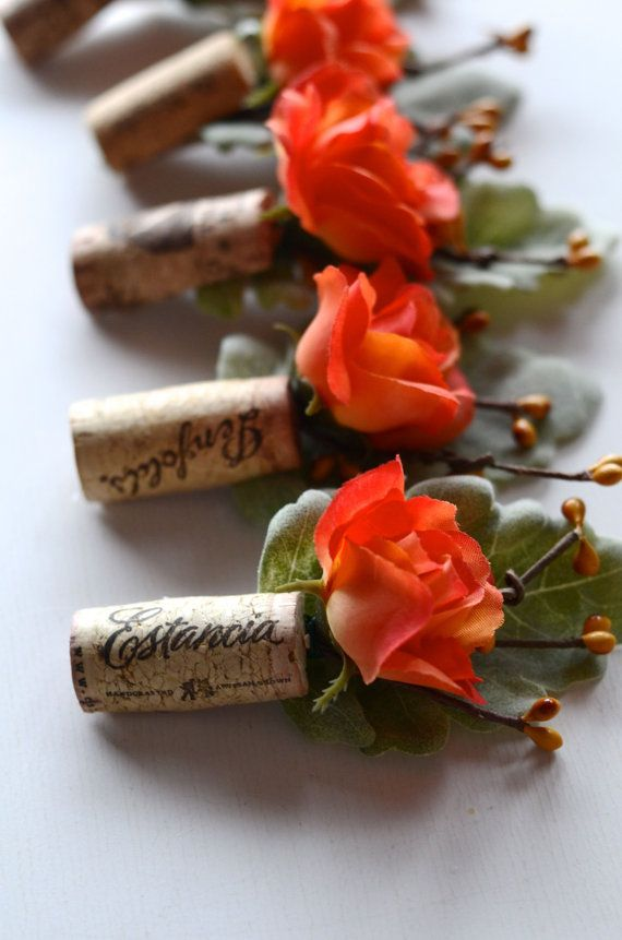 Rustic Boutonniere Coral Made from Wine Cork