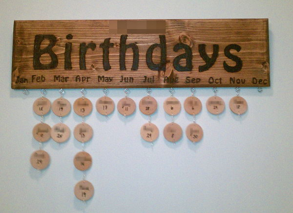 Wood Burned Birthday Board
