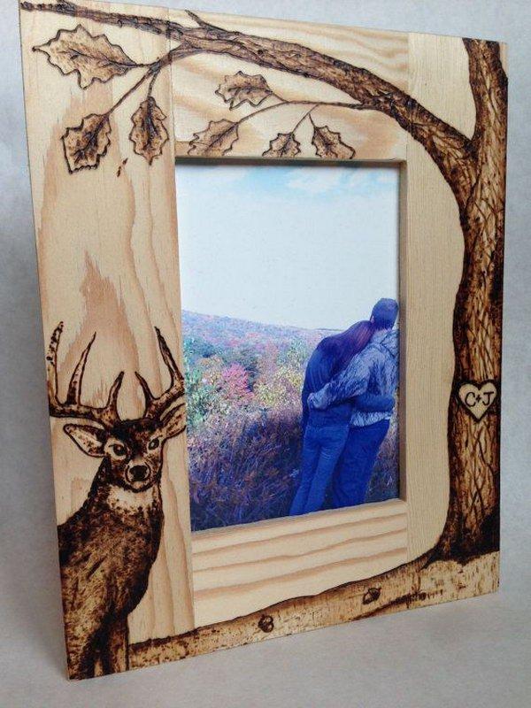 Personalized Wood Burned Photo Frame
