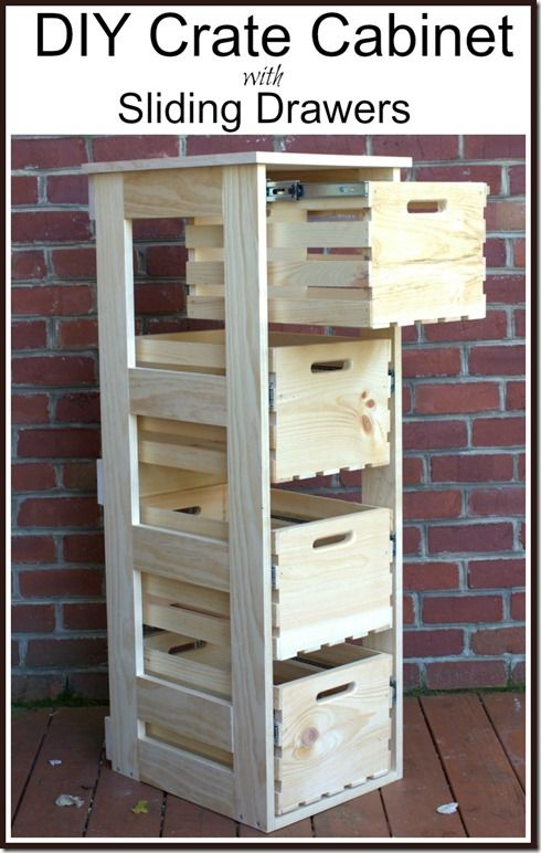 DIY Crate Cabinet with Sliding Drawers.
