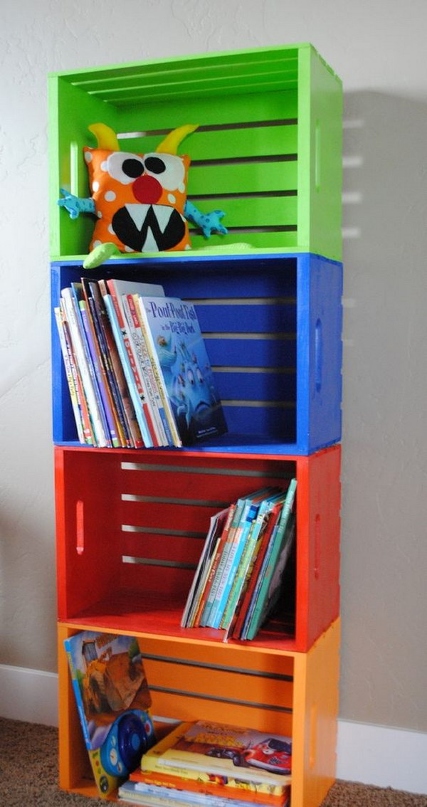 DIY Colorful Crate Bookshelf
