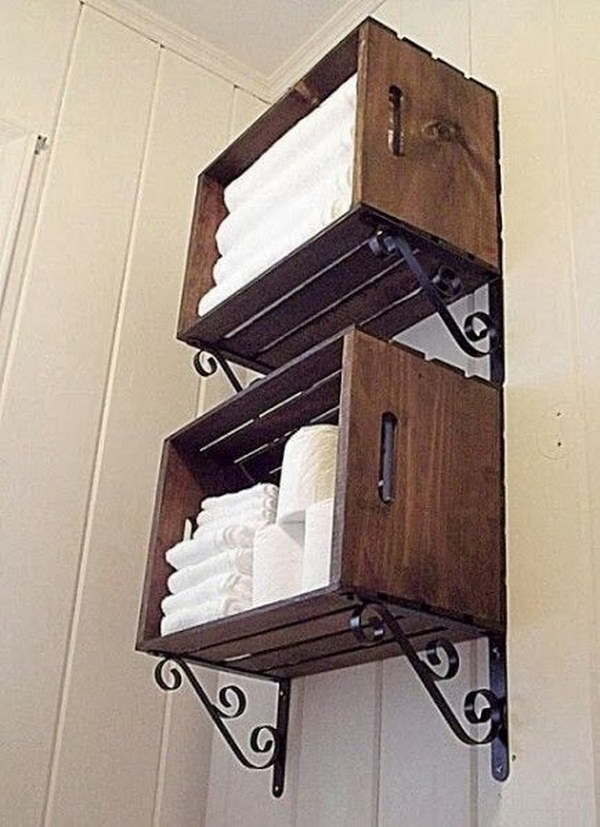 DIY Wooden Crate Bathroom Storage Tutorial